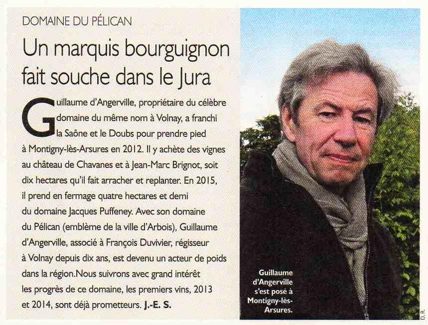 Pélican RVF revue du vin de France Angerville