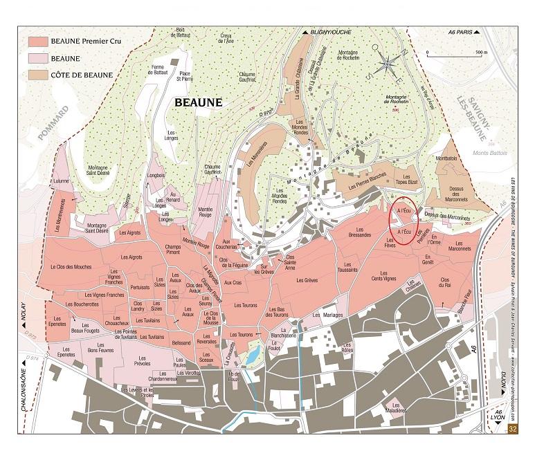 Carte vignoble Beaune premier cru