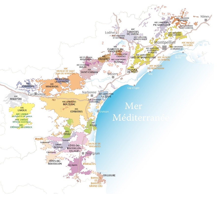 Carte appellation Languedoc
