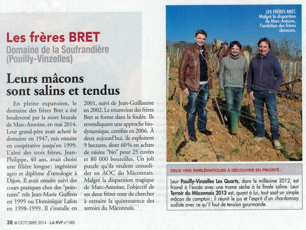 """article de la RVF """"ces jeunes loups qui font vibrer la Bourgogne"""""""