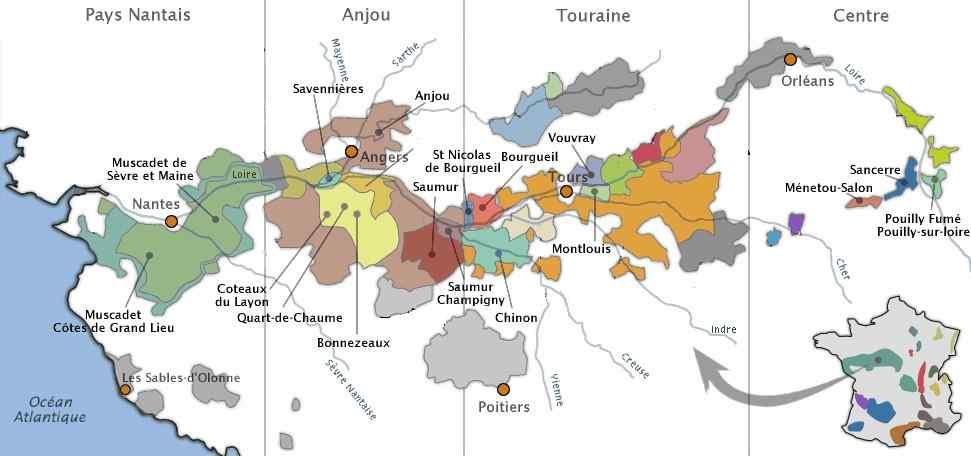 Carte des vignobles de la Vallée de la Loire