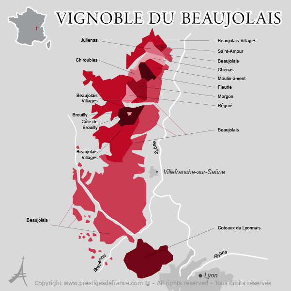 carte des appellations du Beaujolais