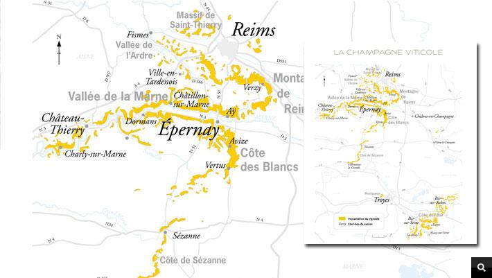 carte des vignes de Champagne